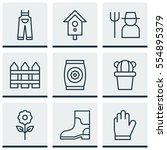 set of 9 garden icons. includes ... | Shutterstock .eps vector #554895379