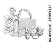 handbag with sunglasses and... | Shutterstock .eps vector #554896534