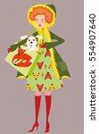 very sweet pretty fashion red... | Shutterstock .eps vector #554907640