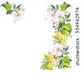 watercolor border of flowers... | Shutterstock . vector #554942974