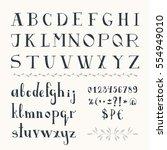 serif hand drawn font. vector.... | Shutterstock .eps vector #554949010