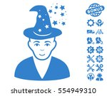 magic master icon with bonus... | Shutterstock .eps vector #554949310
