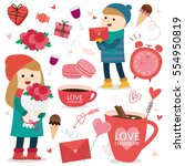 valentine's day icon.vector... | Shutterstock .eps vector #554950819