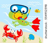 frog swimming in the lake... | Shutterstock .eps vector #554952598
