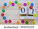 date april 1  on wooden... | Shutterstock . vector #554955193