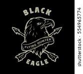 black eagle. hand drawn emblem.   Shutterstock .eps vector #554965774