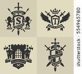 set of heraldic medieval...   Shutterstock .eps vector #554965780
