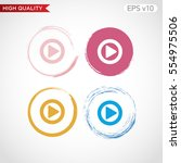 colored icon or button of play... | Shutterstock .eps vector #554975506