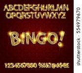 bingo. golden glowing alphabet... | Shutterstock .eps vector #554979670