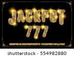 jackpot 777. golden glowing... | Shutterstock .eps vector #554982880