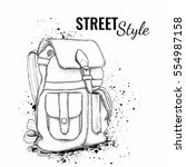 Hand Drawn Vector Backpack....