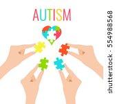 autism awareness poster with... | Shutterstock . vector #554988568