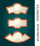 set of glowing retro frames on... | Shutterstock .eps vector #554996713