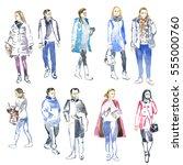 watercolor sketch of people ... | Shutterstock . vector #555000760