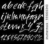 hand drawn font made by dry... | Shutterstock .eps vector #555003343