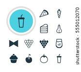 vector illustration of 12 food... | Shutterstock .eps vector #555012070
