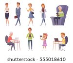 people with gadgets decorative... | Shutterstock .eps vector #555018610
