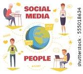 people in social media design... | Shutterstock .eps vector #555018634