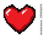 pixel heart for modern love | Shutterstock .eps vector #555026074
