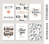 vector set of hand drawn of... | Shutterstock .eps vector #555028840