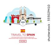 travel to spain skyline. vector ... | Shutterstock .eps vector #555029410
