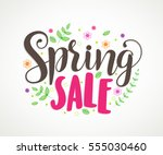 spring sale text vector... | Shutterstock .eps vector #555030460