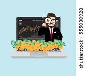 hipster businessman looking... | Shutterstock .eps vector #555030928