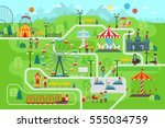 amusement park map infographic... | Shutterstock .eps vector #555034759