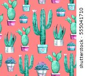 cactus and succulent seamless... | Shutterstock . vector #555041710