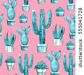 cactus and succulent seamless... | Shutterstock . vector #555041728