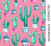 cactus and succulent seamless... | Shutterstock . vector #555041740