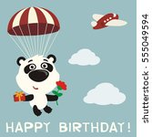 happy birthday  funny panda... | Shutterstock .eps vector #555049594