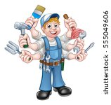 A Cartoon Handyman Holding Lot...