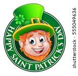 cartoon leprechaun character in ... | Shutterstock .eps vector #555049636
