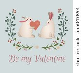 vintage rabbits with heart in... | Shutterstock .eps vector #555049894
