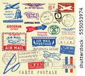 vector document stamp set.... | Shutterstock .eps vector #555053974