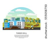 timber factory template with... | Shutterstock .eps vector #555058750