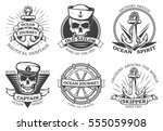 old tattoo anchor set with... | Shutterstock .eps vector #555059908