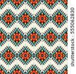 tribal seamless colorful... | Shutterstock .eps vector #555062830