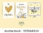 set of happy valentines day... | Shutterstock .eps vector #555068314