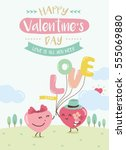 happy valentines day. cute... | Shutterstock .eps vector #555069880