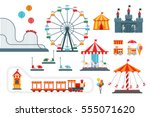 Amusement Park Vector Flat...