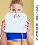 frustrated sad blonde girl... | Shutterstock . vector #555072658