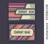 business card template with 3d... | Shutterstock .eps vector #555082108