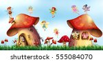 scene with fairies flying... | Shutterstock .eps vector #555084070