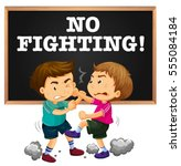 no fighting sign and boy...