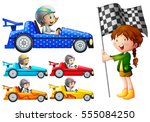 kids in racing cars illustration