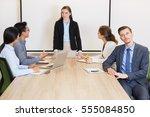 serious businessman making... | Shutterstock . vector #555084850