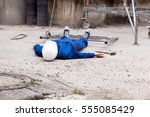 work accident at construction... | Shutterstock . vector #555085429