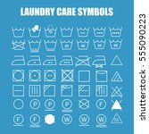 laundry care symbols set. wash  ... | Shutterstock .eps vector #555090223